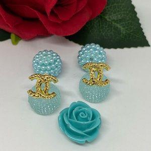 18K Real Gold Stud Earrings